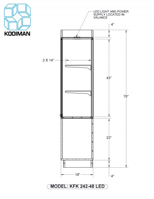 One Third Style Wallcase LED Option Dimensions