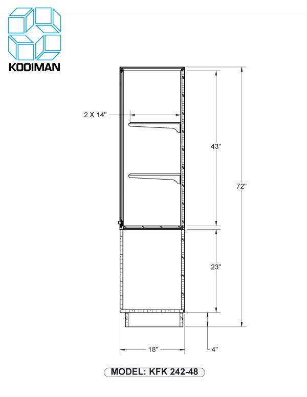 One Third Style Wallcase Standard Dimensions