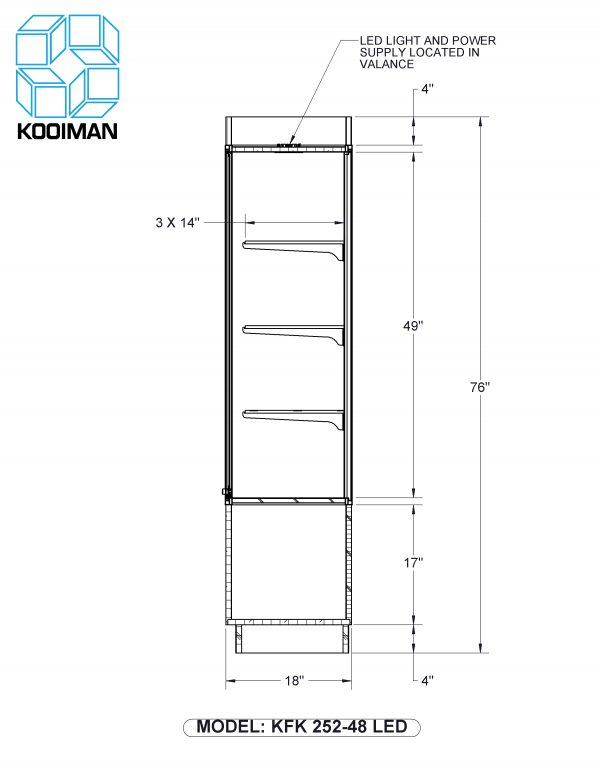 One half Style Wallcase LED Option Dimensions