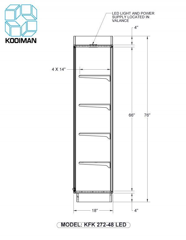 Full Style Wallcase LED Option Dimensions