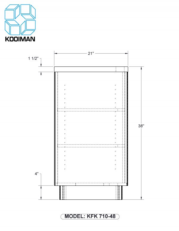 48 inch cash desk open storage standard dimensions